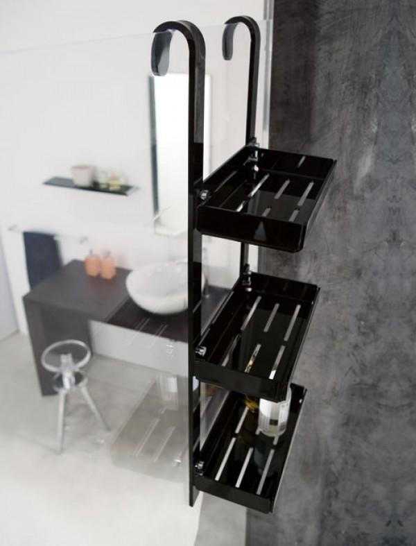 mensola doccia 3 piani largo 31 nero